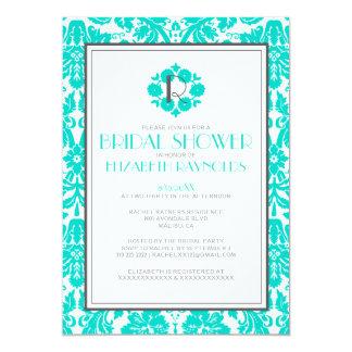 Turquoise Monogram Damask Bridal Shower Invitation