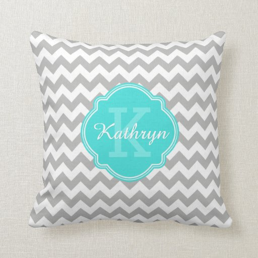 Turquoise Monogram Grey Chevron Pattern Pillow