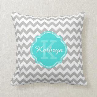 Turquoise Monogram Grey Chevron Pattern Throw Pillow at Zazzle