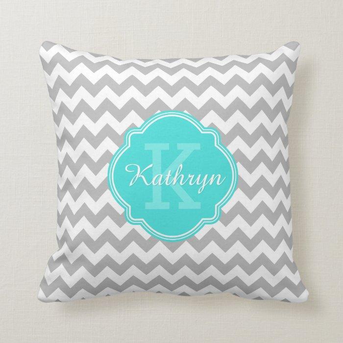 Grey Chevron Throw Pillow : Turquoise Monogram Grey Chevron Pattern Throw Pillow Zazzle