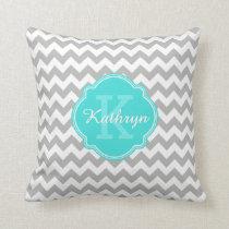 Turquoise Monogram Grey Chevron Pattern Throw Pillow