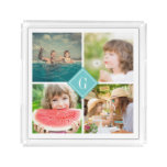 Turquoise Monogram Instagram Photo Collage Acrylic Tray