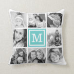 "Turquoise Monogram Instagram Photo Collage Throw Pillow<br><div class=""desc"">Cute keepsake reversible throw pillow design featuring your custom Instagram photo collage on front and back sides and personalized with your monogram initial. Click Customize It to change monogram font and color and further personalized the design. Great gift for family,  friends,  parents,  and grandparents!</div>"