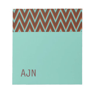 Turquoise  Monogram School Office Notepad Gift