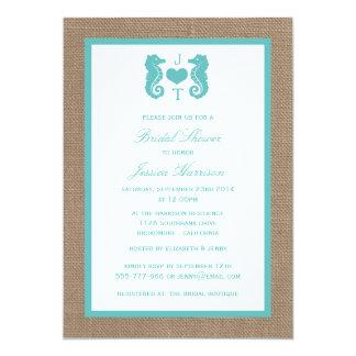 Turquoise Monogram Seahorse Beach Bridal Shower 5x7 Paper Invitation Card
