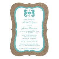 Turquoise Monogram Seahorse Beach Bridal Shower Card