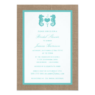 Turquoise Monogram Seahorse Beach Bridal Shower 5x7 Paper Invitation Card
