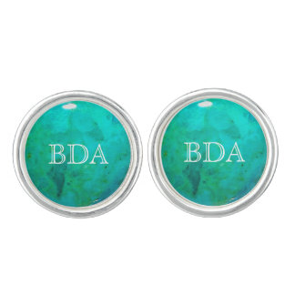 Turquoise Monogram Silver Plated Cufflinks
