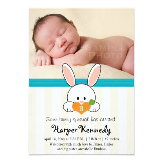 TURQUOISE MONOGRAMMED BUNNY BIRTH ANNOUNCEMENT