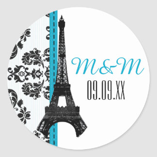 Turquoise Monogrammed Damask Eiffel Tower Wedding Classic Round Sticker