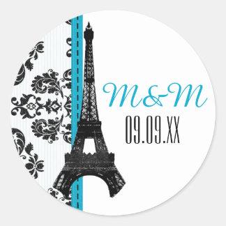 Turquoise Monogrammed Damask Eiffel Tower Wedding Classic Round Sticker