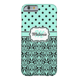 Turquoise Monogrammed Damask Polka Dots Pattern iPhone 6 Case