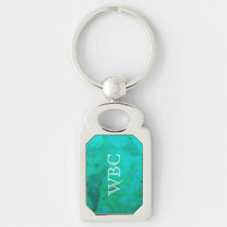 Turquoise Monogrammed Oblong Keyring Silver-Colored Rectangular Metal Keychain