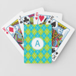Turquoise Monogrammed Playing Cards
