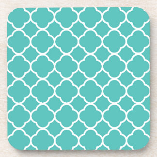 Turquoise Moroccan Pattern Beverage Coaster