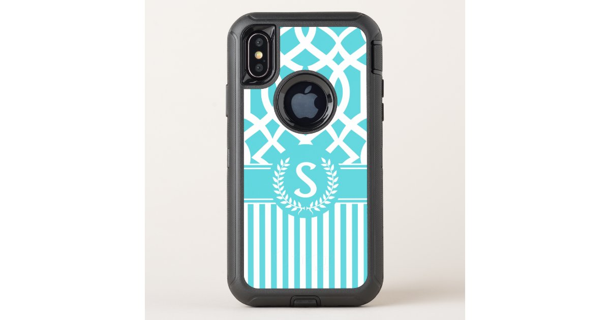 Cot In A Box Morocco Turquoise: Turquoise Moroccan Quatrefoil Stripes Monogram OtterBox