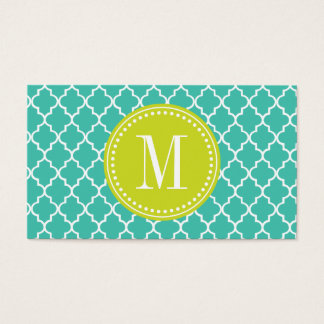 Turquoise Moroccan Tiles Lattice Personalized Business Card