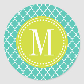 Turquoise Moroccan Tiles Lattice Personalized Round Stickers
