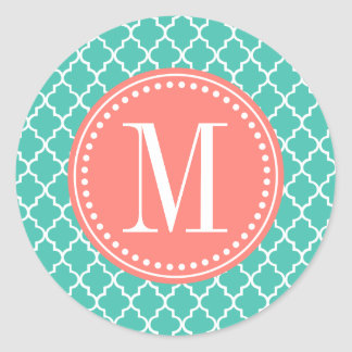 Turquoise Moroccan Tiles Lattice Personalized Round Sticker