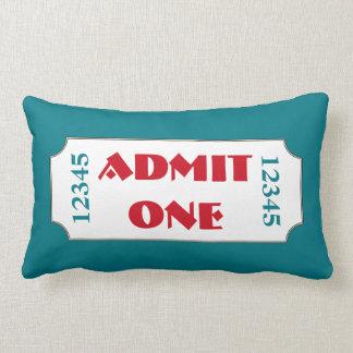 Turquoise Movie Ticket Cinema Pillow