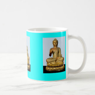 Turquoise Mug w/ Gold Buddha Sculpture by SHARLEs