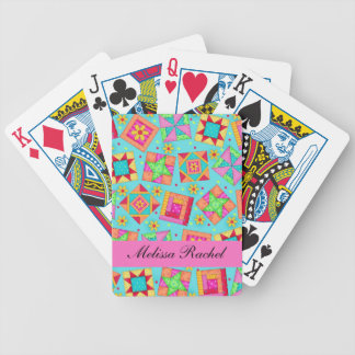 Turquoise Multi-color Quilt Patchwork Blocks Bicycle Playing Cards