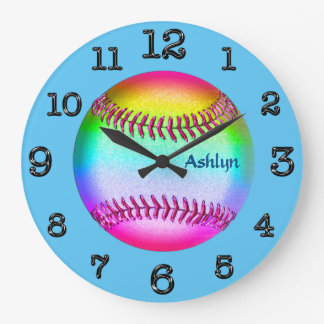 Turquoise Multicolored Softball Clock, YOUR NAME Large Clock