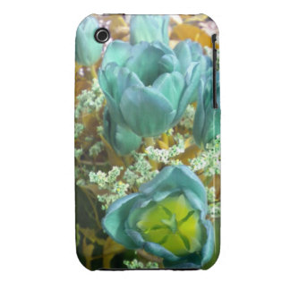 Turquoise N Gold Tulips iPhone 3 case