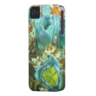 Turquoise N Gold Tulips iPhone 4 case