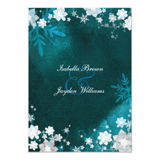 Turquoise n White Winter Bling Wedding Invitation
