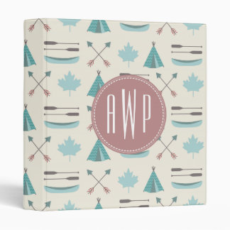 Turquoise Native Tipi Monogram Pattern Binder