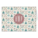 Turquoise Native Tipi Monogram Pattern Card