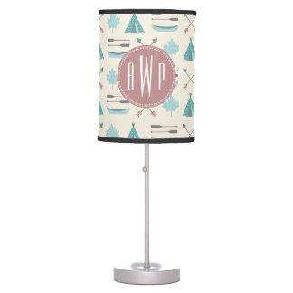 Turquoise Native Tipi Monogram Pattern Desk Lamp