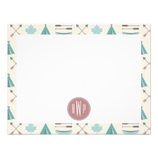 Turquoise Native Tipi Monogram Pattern Announcements