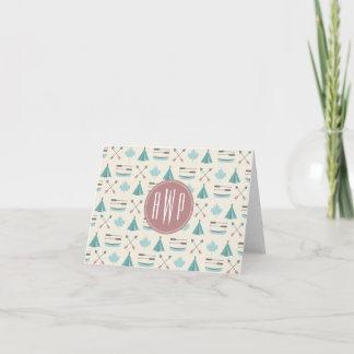 Turquoise Native Tipi Monogram Pattern Note Card