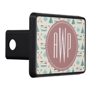 Turquoise Native Tipi Monogram Pattern Tow Hitch Cover