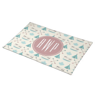 Turquoise Native Tipi Monogram Pattern Cloth Place Mat
