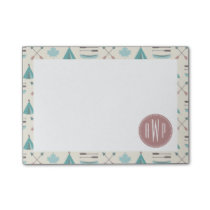Turquoise Native Tipi Monogram Pattern Post-it Notes