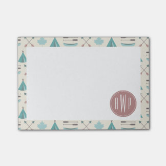 Turquoise Native Tipi Monogram Pattern Post-it Notes