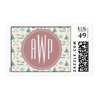 Turquoise Native Tipi Monogram Pattern Postage Stamp