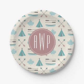Turquoise Native Tipi Monogram Pattern 7 Inch Paper Plate