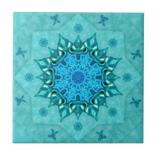 Turquoise Nature Mandala Ceramic Tile
