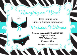 turquoise naughty or nice lingerie bridal shower invitation