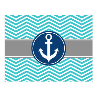 Turquoise Nautical Anchor Chevron Postcard