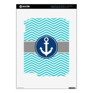 Turquoise Nautical Anchor Chevron Skins For iPad 3