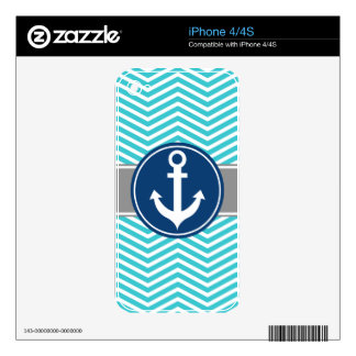 Turquoise Nautical Anchor Chevron Skins For The iPhone 4