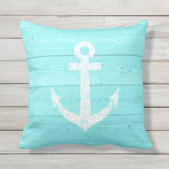 Turquoise Nautical Anchor Outdoor Throw Pillow Zazzle Com