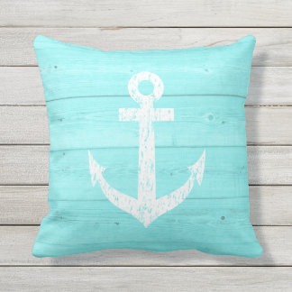 Awesome Turquoise Nautical Anchor Outdoor Throw Pillow