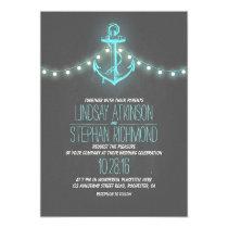 turquoise nautical chalkboard anchor wedding card