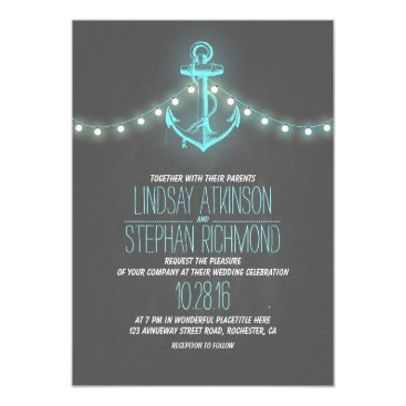 Beach Themed turquoise nautical chalkboard anchor wedding card